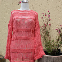 Cotton sweater , Summer clothing , Boho sweater , Light weight clothing , Coral summer sweater , Loose fitting sweater.
