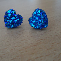plastic heart earrings,blue heart earrings
