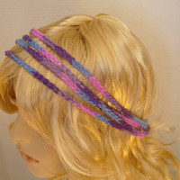 Multicolor Four Strand Crochet Headband Purple Pink Blue Boho Hippie Womens Fashion Accessory with Ties