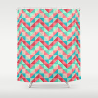 Chevron Facet 3 Shower Curtain by Jacqueline Maldonado