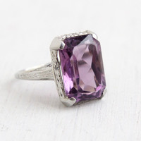 Vintage 18k White Gold Filigree Amethyst Ring - Antique Size 5 1/2 Art Deco 1920s Large 5 Carats Purple Gemstone Ring