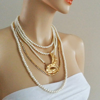 Bridal Rhinestone Cream Pearl Gold Brooch Wedding Necklace Vintage Brides Bridesmaid Mother Gift Accessories