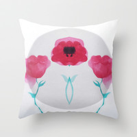 Mirrored Asian Poppy Throw Pillow by DuckyB (Brandi)