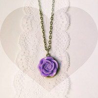 "Handmade ""Darla"" Lavender Purple Rose Necklace with Bronze Chain"