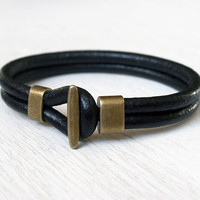 Double Leather Band Bracelet with Antique Brass Clasp