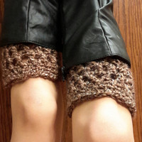 crochet boot cuffs. brown cuffs. Made by Bead Gs on ETSY. barley boot cuffs.