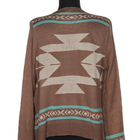 Mocha Mint Aztec Tribal Cardigan Sweater