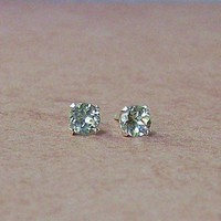 6mm Genuine Green Amethyst Sterling Silver by cavaliercreations