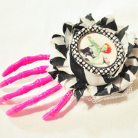 Skeleton hand hair clip with zombie pin up girl on black and white shabby flower