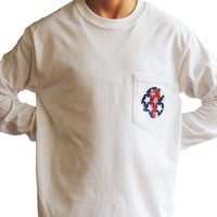 USA Lax Goggles White Long Sleeve Front Pocket Tee - Sportabella, Ltd Store