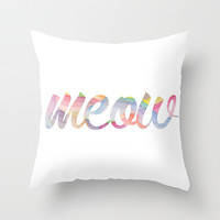 Meow Throw Pillow by -jamiegrittner