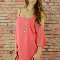 Off Shoulder Coral Spring Chiffon Dress