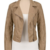 faux leather asymmetrical zip moto jacket
