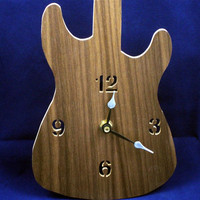Guitar Wall Hanging Clock Handmade From Walnut Ply Wood Quartz Clock Movement