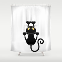 Black Cat Cartoon Scratching Wall Shower Curtain by Bluedarkat Lem