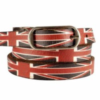 ZLYC Unisex Leather Belt with the UK Flag Print