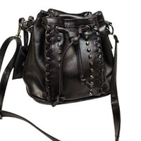 Punk Girl Studded Rivets Drawstring Black Crossbody Bucket Bag Satchel
