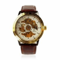ZLYC Men's Automatic Skeleton Mechanical Leather Watch Brown