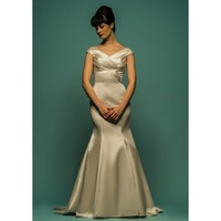 Elegant Vintage Sweep Mermaid Off-the-shoulder Taffeta Wedding Dress