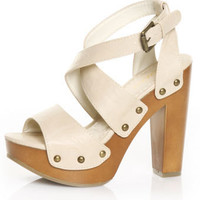 Soda Tahiti Skin Bare Back Strappy Platform Sandals - $29.00