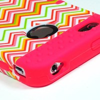 Bastex Heavy Duty Hybrid Case for iPhone 4, 4s, 4th Generation - Pink Silicone / Multi Color Chevron Design Hard Shell