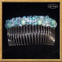 CYAN a Handmade Beaded 4 inch Metal Hair Comb Crafted From Vintage Wooden Turquoise Beads Opaque Iridescent Turquoise Beads Crystal Beads
