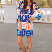 Mojave Dress, Blue/Orange