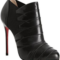 Christian Louboutin black leather &#x27;Lina 100&#x27; banded ankle booties at Bluefly