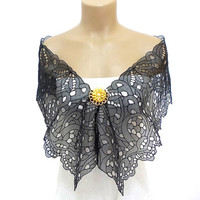 Shawl, Lace Shawl, Mother of the bride, Feminine Shawl, Scarf, Brooch Shawl, Free Shipping, Black, Wrap, French Lace Shawl
