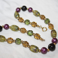 Venetian Art Glass Necklace Purple Ovaline Crystal Bead 1940s Jewelry