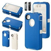 Body Armor Hybrid Hard Case Silicone Rubber Cover for Apple iPhone 4 4G 4S w/ Screen Protector (Blue / White)