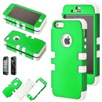 Coloful White Hybrid Hard Snap On Case Cover Silicone Dual Layer for Apple iPhone 5 5G 5S w/ Screen Protector (Green)