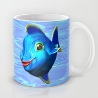 Cute Blue Fish Cartoon 3D Digital Art Mug by Bluedarkat Lem