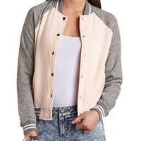 Button-Up Color Block Varsity Jacket