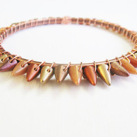 Sunny day spike bracelet, copper bangle, golf bangle, bronze bangle, Pantone Celosia Orange