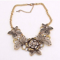 Fashion Vintage Bronze Crystal Hollow Flowers Pendant Necklace