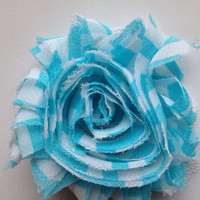 Blue Chevron Flower Hair Clip - Floral Hair Accessories - Girls Hair Clip