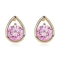 Pink Heart Rhinestone Fashion Earrings