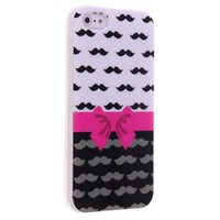 Okeler Stylish Handlebar and Lovely Bowtie TPU Soft Case Cover for Apple iPhone 5 5S with Free Pen