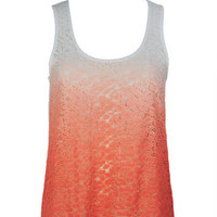 Ombre Lace Racerback Tank - Ivory
