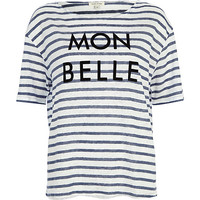 Blue stripe mon belle linen t-shirt - print t-shirts / tanks - t shirts / tanks / sweats - women