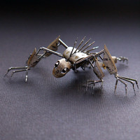 "Mechanical Creature ""Strangler"" Recycled Watch Parts Organism Justin Gershenson-Gates Faces Stems Gears Arthropod Clockwork Robot Insect"