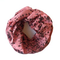Pink Infinity Silk Scarf in Black Speckle Pattern. Handmade. Modern Ink Print. Polka Dot Figure Eight. Simple, Sleek, Cowl. Circle Scarf.