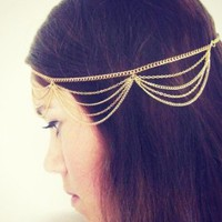 Generic Fashion Lady Women Girl Muti Layers Tassels Headband Link Chain Cuff Headpiece