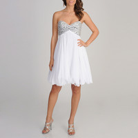 Betsy & Adam Women's White Rhinestone Bust Strapless Dress