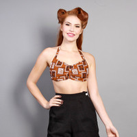 60s BANDANA Print BRA TOP / Black & Brown Western Playsuit Top, xs - s