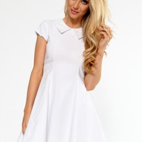 White Peter Pan Collar Fit & Flare Dress
