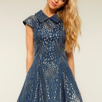 Gold/Navy Structured Brocade Peter Pan Collar Skater Dress