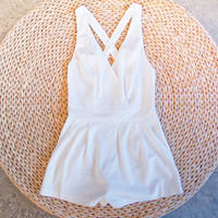 Cross Back Shorts Romper