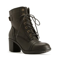 Black Mid Heel Combat Booties
